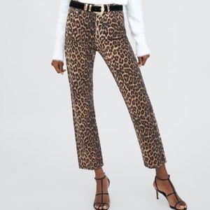 NWOT Zara Leopard High Waisted Straight Leg Jeans